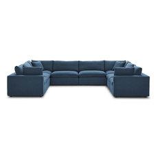 Wheatland Down Filled Overstuffed 8 Piece Sectional Sofa Set - Azure