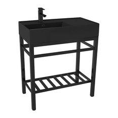 Modern Matte Black Ceramic Console Sink And Matte Black Base One Hole