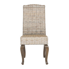 Milos Wicker Dining Chairs Set Of 2 White Washed