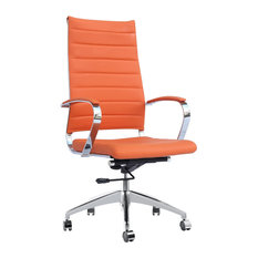 America Luxury   Modern Contemporary Urban Home Work Adjustable Office Chair,  Orange, Leather