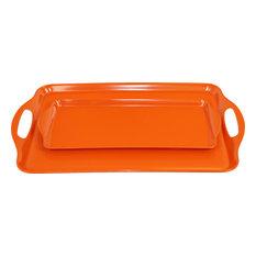 Calypso Basics 2-Piece Melamine Tray Set, Orange