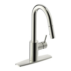 Ultra Faucets UF14903 Brushed Nickel Euro Kitchen Faucet With Pull-Down Spray