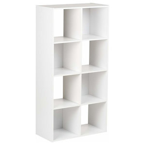Display Storage Unit, White Painted MDF With 8-Compartment, Modular Design