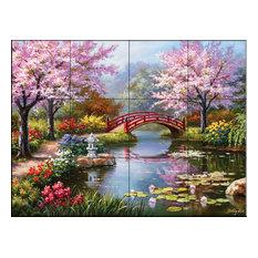 Tile Mural, Japanese Garden by Sung Kim