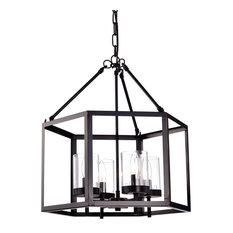 4-Light Oil Rubbed Bronze Hexagon Lantern Cage Chandelier Farmhouse