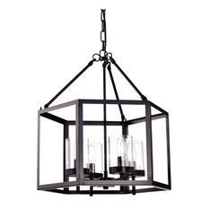 4-Light Oil Rubbed Bronze Hexagon Lantern Cage Chandelier Farmhouse