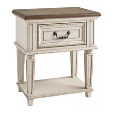 1 Drawer Wooden Frame Nightstand With Tapered Legs Brown And Antique White