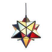 Moravian Star Tiffany Style Glass Pendant Chandelier, Copper Frame