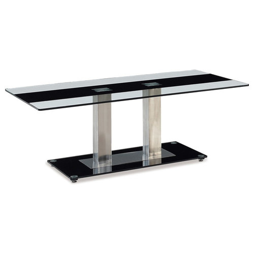 Coffee Table, Clear With Black Stripe, Silver Legs By Global Furniture USA