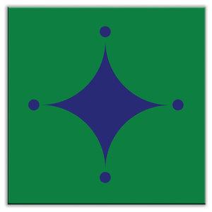 "4.25""x4.25"" Folksy Love Satin Decorative Tile, A-boo Blue-Green"