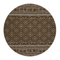 Sunny Round Patterned Area Rug, Brown, 120 cm