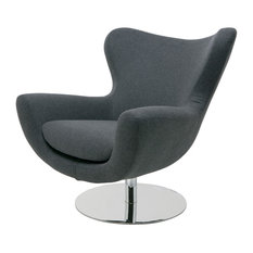 Conner Lounge Chair Wool Upholstery Dark Gray