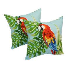 "Blazing Needles - Spun Polyester 17"" Outdoor Throw Pillows, Set of 2, Tropical Parrot - Outdoor Cushions and Pillows"