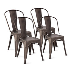 Costway Set Of 4 Distressed Style Side Chair Stackable Bistro Cafe Metal Copper