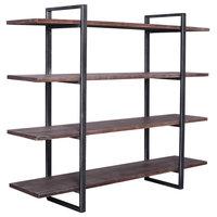 Prague Bookshelf, Silver Brushed Gray, Rustic Pine Wood Shelves