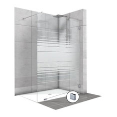 "Fixed Shower Screens With Lines Design, Non-Private, 43 1/2""x75"" Inches"