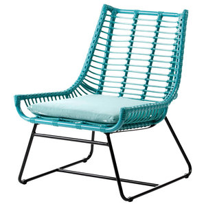 Curved Rattan Accent Chair With Cushion and Black Legs, Turquoise