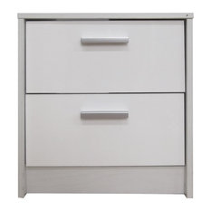 Khabat 2-Drawer Bedside Table, White and White Oak