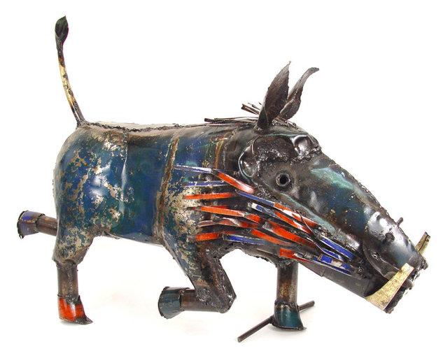 Recycled metal warthog eco art