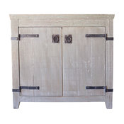 "36"" Americana Single Sink Vanity Cabinet Only With outut Top, Driftwood"