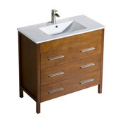 "Bathroom Vanity Morris 36"" with Porcelain Sink Top, Chestnut"