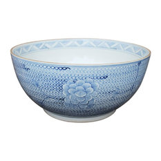 Blue and White Porcelain Chain Lotus Flower Large Bowl, 16""