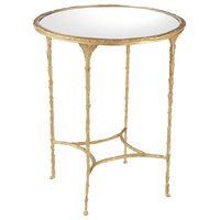 Organic Transitional Burnished Brass Round Accent Table