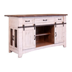 Crafters and Weavers - Greenview Kitchen Island, Distressed White - Kitchen Islands and Kitchen Carts