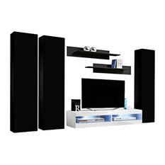 Fly CD1 34TV Wall Mounted Floating Modern Entertainment Center Black/White