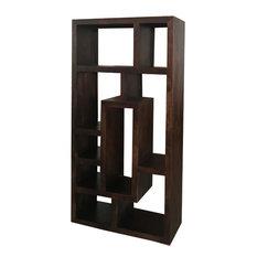Yoga New Geometric Mango Wood Display Shelf, Walnut Finish
