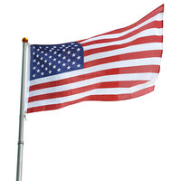 25' Aluminum Telescopic Flagpole and Usa Flag