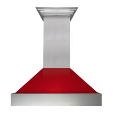 Ducted DuraSnow Stainless Steel Range Hood with Red Gloss Shell