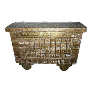 Mogul Interior - Consigned Hope Chest On Wheels Carved India Brass Cladded Trunk - Decorative Trunks