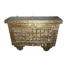 Consigned Hope Chest On Wheels Carved India Brass Cladded Trunk