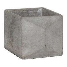 Cement Square Flower Pot, Concrete Gray