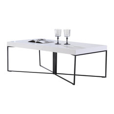 Mixer Coffee Table White High-Gloss And Black Steel