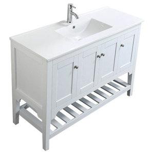 "Aquamoon Rimini 47 7/8"" Bathroom Vanity Set, White"