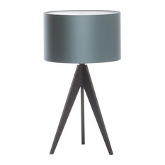 Artist Tripod Table Lamp With Black Base, Ice Blue Cotton Shade