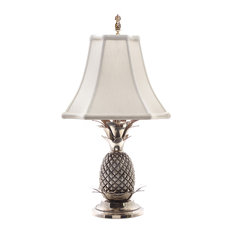 Eurocraft Home Decor   Elegant Pineapple Table Lamp, Pewter Finish With  Off White Shade