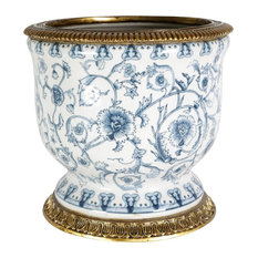 """Beautiful Blue and White Floral Porcelain Square Vase Ormolu Brass Accent 10"""""""