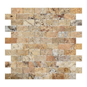 "12""x12"" Split-Faced Scabos Travertine Brick Mosaic Tile, Set of 10"