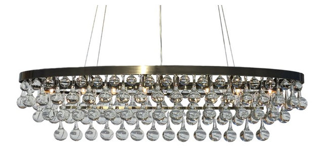 Celeste 8 light oval antique brass glass drop chandelier