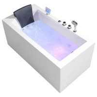 "Platinum 59"" Acrylic Right Drain Rectangular Alcove Whirlpool Bathtub, White"