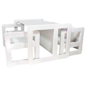 3 in 1 Kids Set of Benches and Table, White