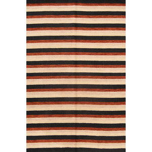 "Gabbeh Modern Striped Hand-Knotted Indian Oriental Area Rug, Multi, 9'9""x6'5"""