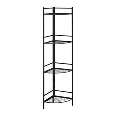 INC Bookcase Black Metal Corner Etagere - 58-inchH