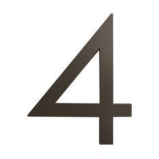 """Modern Font House Number, Bronze, 6"""", Number 4, Modern Font"""