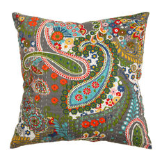 "Rugsville Ethnic Kantha Paisley Ikat Green Pillow Cover  16""x16"""