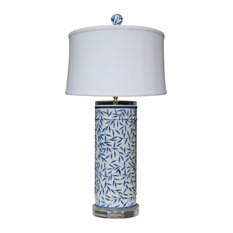 Blue and White Bamboo Leave Vase Table Lamp
