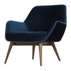 Gretchen Single Seat Sofa, Midnight Blue, Walnut